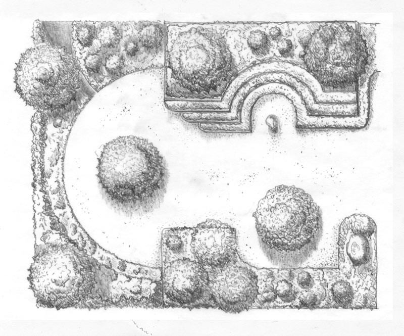 Zeichnung Garten